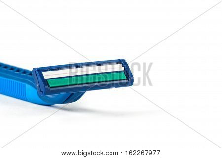 Razor equipment for shaver isolated on white background. Hygiene accessories