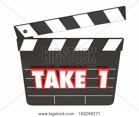 Take 1 One First Attempt Try Scene Movie Clapper Board 3d Illustration