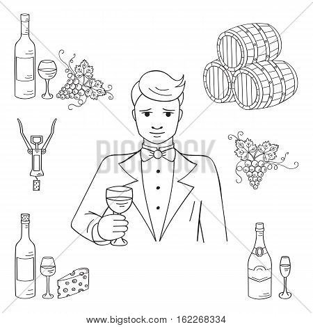 Young man tasting a glass of wine vector illustration hand drawn doodle sketch. Wine and wine making set sommelier, bottles, glasses, grapes, cheese, champagne, barrels, corkscrew.