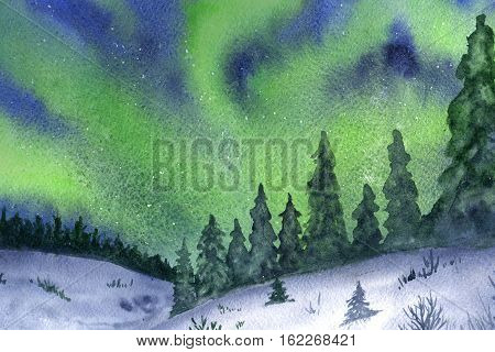 Northern lights, snow and forest hand-drawn with watercolor