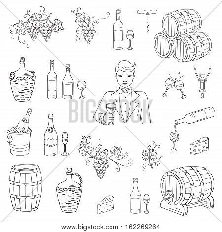 Wine and wine making set vector illustrations hand drawn doodle, bottles, glasses, grapes, sommelier, wine tasting, cheese, champagne, barrels, cellar Wine design elements