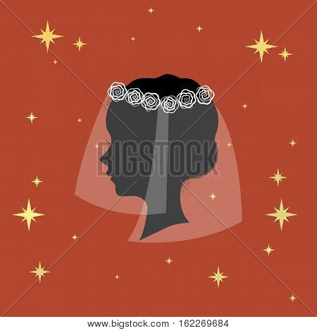 Bridal veil icon in cartoon design isolated on white background. Bride symbol stock vector illustration.