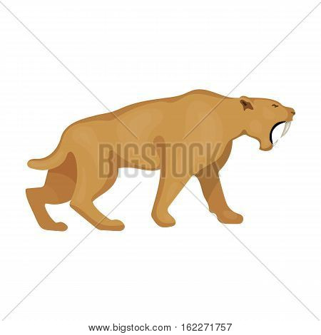 Saber-toothed tiger icon in cartoon style isolated on white background. Stone age symbol vector illustration.