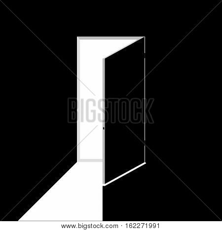 Black and white vector illustration of open door. Noir element