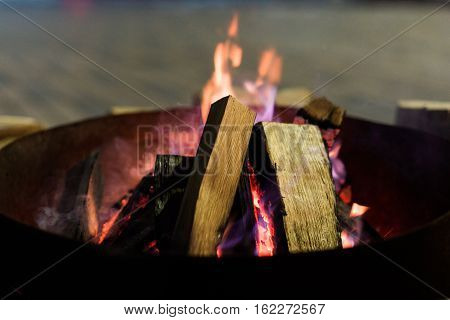 Fire In Fireplace And Flames Dance