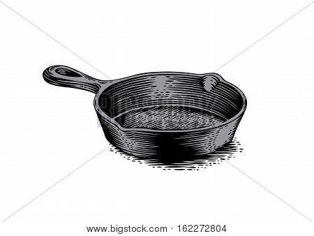 Drawing of black empty cast iron pan
