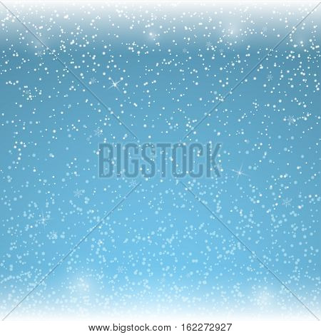 Christmas blue background with falling snowflakes. Winter snowfalls. Vector illustration.