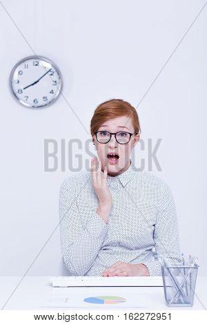 Woman Having Delay At Work