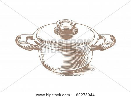 Drawing of small metal pot with lid