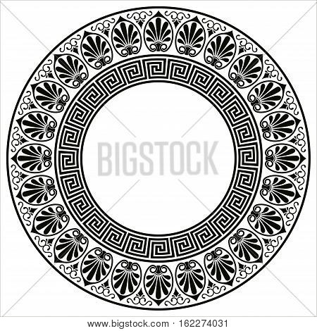 Vector Greek style background. Circular ornament. Black ornament isolated on white background.