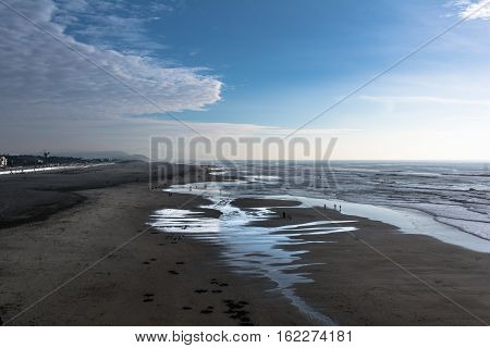 The long sand beach at Ocean Beach in San Francisco, California