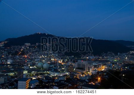 Nagasaki city landscape at Night shot of Nagasaki city in Japan