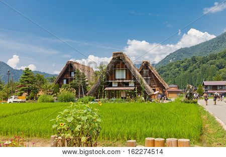 OGIMACI JAPAN - AUGUST 01 2016: Old houses of unique gassho style with thatched roof in Ogimachi village of Shirakawa-go district. World Heritage Site of UNESCO