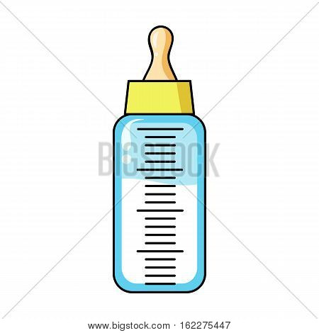 Baby bottle icon in cartoon style isolated on white background. Baby born symbol vector illustration.