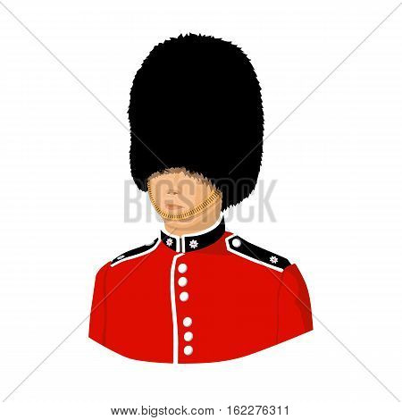 Queen's guard icon in cartoon style isolated on white background. England country symbol vector illustration.