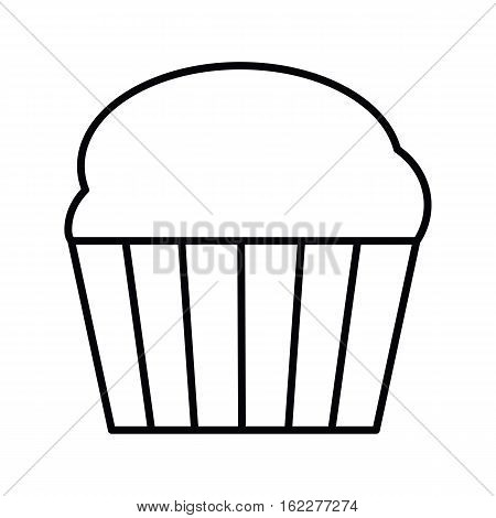 Cupcake outline icon. Thin line icon of cake  Single symbol for web design or mobile app. Outline vector sing for design logo, visit card, corporate identity.