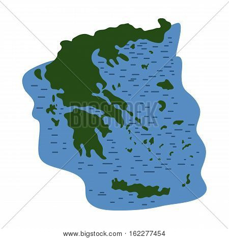 Greece territory icon in cartoon style isolated on white background. Greece symbol vector illustration.
