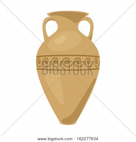 Greece amphora icon in cartoon style isolated on white background. Greece symbol vector illustration.