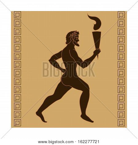 Athlete with olympic fire icon in cartoon style isolated on white background. Greece symbol vector illustration.
