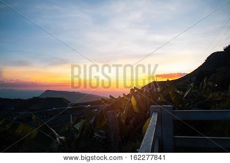 Mountain landscape on resort with the sky at sunset.