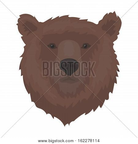 Brown bear muzzle icon in cartoon design isolated on white background. Russian country symbol stock vector illustration.