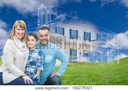 Young Happy Mixed Race Family and Ghosted House Drawing on Grass.