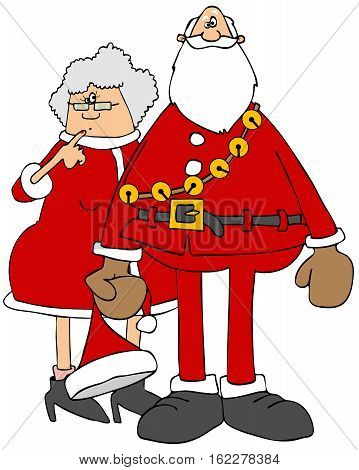 Illustration of Santa and Mrs. Claus in their red outfits.