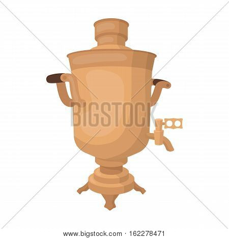 Samovar icon in cartoon design isolated on white background. Russian country symbol stock vector illustration.