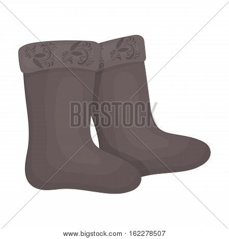 Winter felt boots icon in cartoon design isolated on white background. Russian country symbol stock vector illustration.