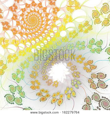 Fractal background with abstract chaos spiral shapes on white. High detailed image.