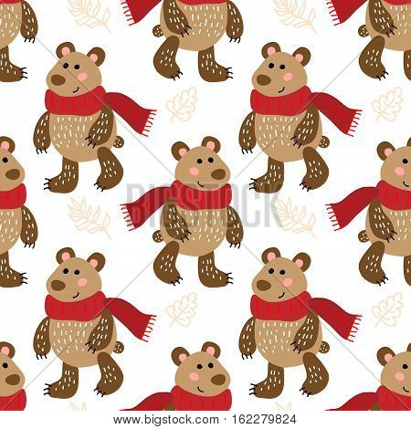 Winter vector seamless pattern with cute bears
