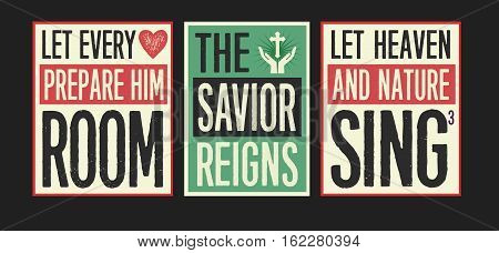 Retro Christian Christmas Card Collection with More Joy to the World lyrics designed into colorful posters on Colorful Vintage Styled backgrounds with Accent Art.