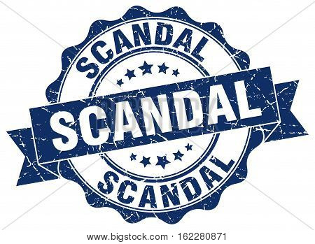scandal. stamp. sign. seal. round. retro. ribbon