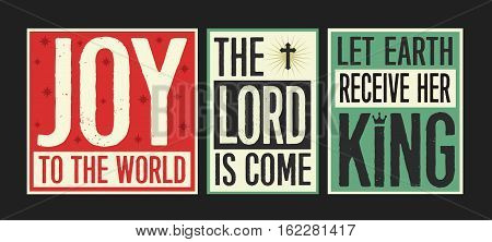 Retro Christian Christmas Card Collection with Joy to the World lyrics designed into colorful posters on Colorful Vintage Styled backgrounds with Accent Art.