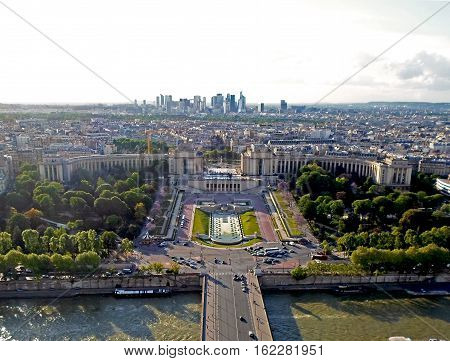 Aerial view from the Eiffel tower on The Palais de Chaillot, La Dfense and the Seine river, Spring in Paris, France