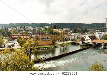 Bremgarten and Reuss river dam view canton Aargau Switzerland