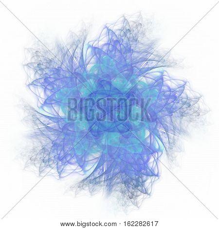 Blue flower digitally rendered fractal design element on white