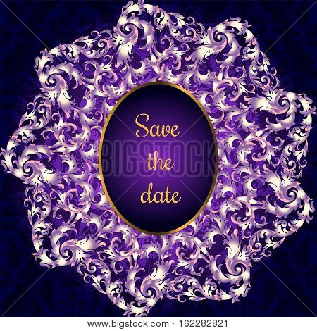 Invitation Card With Lacy Mandala In The Indian Style. Bohemian Ornament. Royal Purple Circle Tracer