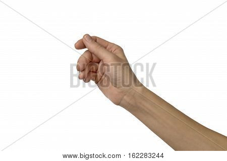 close up of woman hand pretending to hold something. It is a studio shot isolated over white.