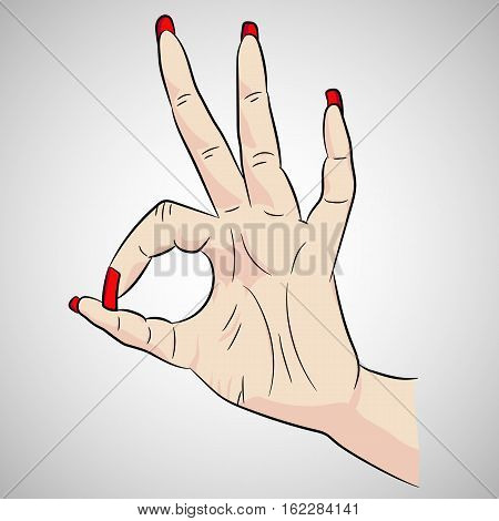 Vector image of woman's hand in cartoon style.