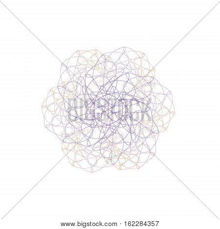 Symmetrical violet flower composed of fractal curves on white background