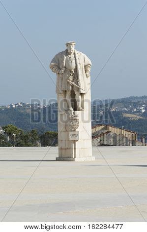 The statue of King Joao III at The University of Coimbra Portugal - A UNESCO World Heritage Site