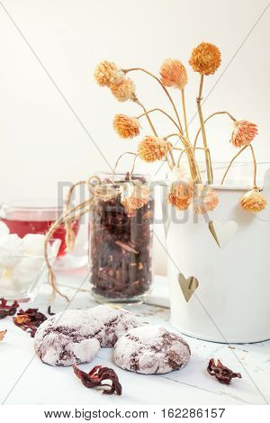 Chocolate Crinkles Cookies, Marshmallows, Tea
