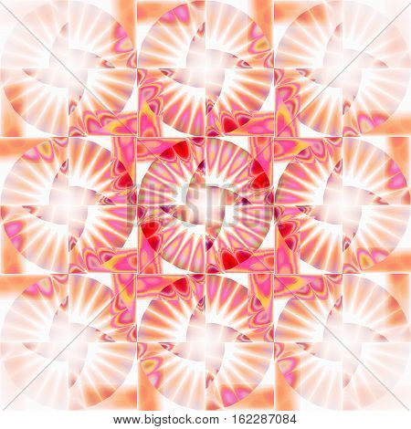 Abstract geometric seamless background. Regular intricate circles pattern in white, orange, violet shades with red and yellow elements, ornate and modern.
