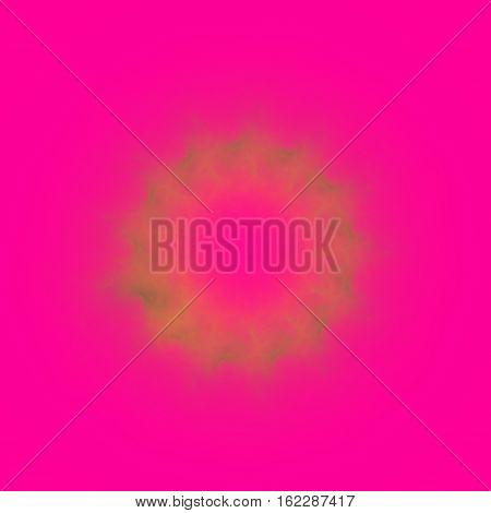 Shining blurred orange ring on shocking pink square