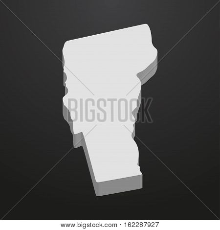 Vermont State map in gray on a black background 3d
