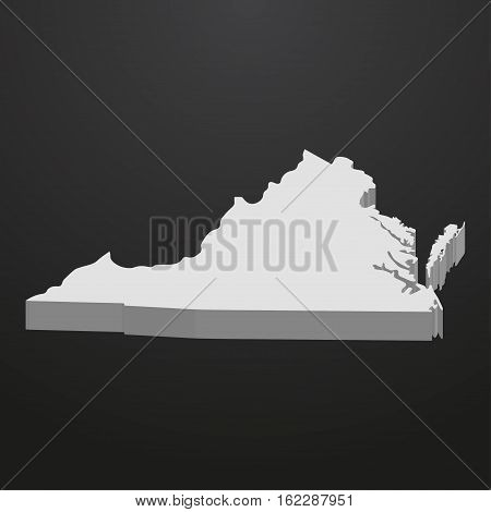 Virginia State map in gray on a black background 3d