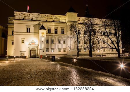 Night view of Palace of the Grand Dukes of Lithuania in Vilnius