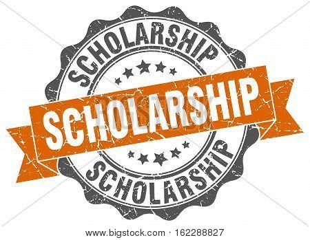 scholarship. stamp. sign. seal. round. retro. ribbon