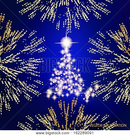 Abstract background with christmas tree, lines, stars and ornaments. Illustration in blue and gold colors with gold placer in border. Vector illustration.